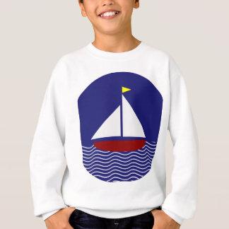 濃紺および赤のヨットのデザイン スウェットシャツ