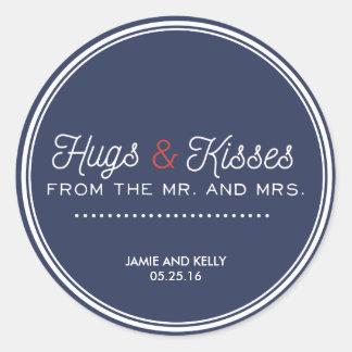 濃紺および赤の結婚式のための結婚式用シール ラウンドシール