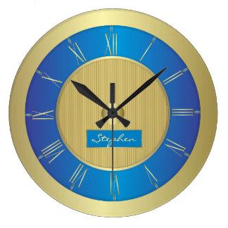 濃紺および金ゴールド ラージ壁時計