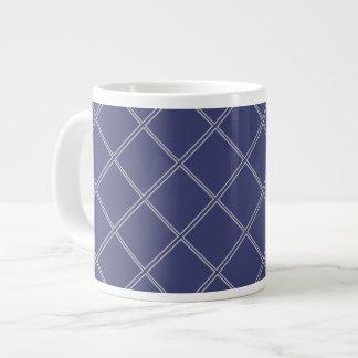 濃紺および銀製の幾何学的なダイヤモンドパターン ジャンボコーヒーマグカップ