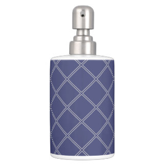 濃紺および銀製の幾何学的なダイヤモンド バスセット