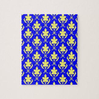 濃紺および黄色く華美な壁紙パターン ジグソーパズル