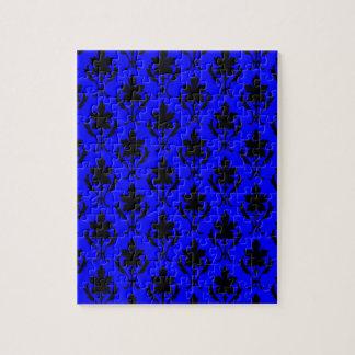 濃紺および黒く華美な壁紙パターン ジグソーパズル