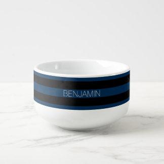 濃紺および黒のラグビーは名前をカスタムすると縞で飾ります スープマグ