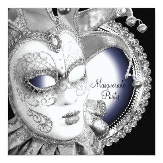 濃紺および黒の仮面舞踏会のパーティの招待状 カード