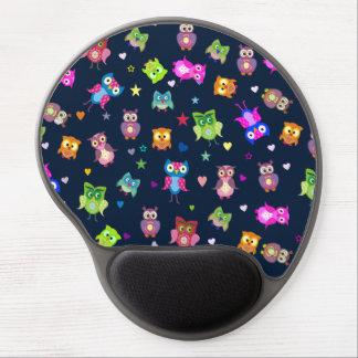 濃紺かわいい虹のフクロウ ジェルマウスパッド