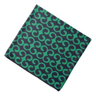 濃紺かアイルランドの緑のスタイリッシュでストライプなパターン バンダナ