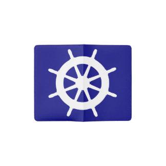 濃紺そして白い沿岸舵輪 ポケットMoleskineノートブック