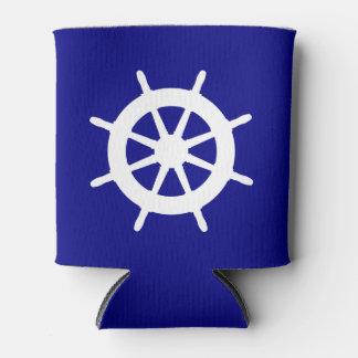 濃紺そして白い沿岸装飾の舵輪 缶クーラー