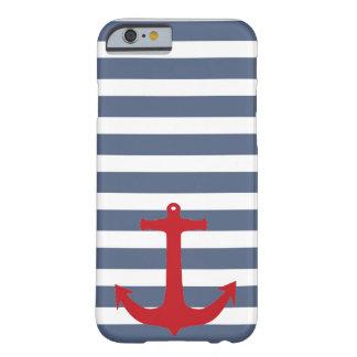 濃紺そして白くストライプので赤いいかりの電話箱 BARELY THERE iPhone 6 ケース