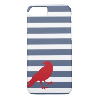 濃紺そして白くストライプので赤い鳥の電話箱 iPhone 8/7ケース