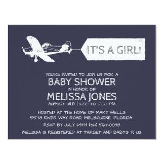 濃紺それは女の子の飛行機旗のベビーです カード