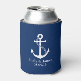 濃紺のいかりの航海のな結婚式の引き出物 缶クーラー