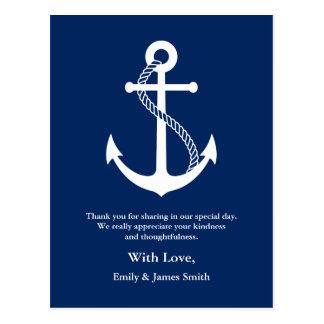濃紺のいかりの航海のな結婚式は感謝していしています ポストカード