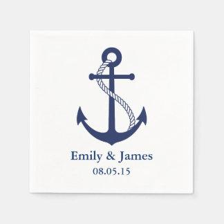 濃紺のいかりの航海のな結婚式 スタンダードカクテルナプキン