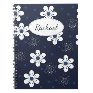 濃紺のかわいらしい花柄 ノートブック