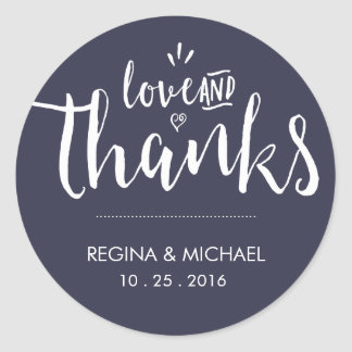 濃紺のエレガントな原稿の結婚式はステッカー感謝していしています ラウンドシール