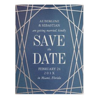 濃紺のオパールのような宝石用原石の結婚式の保存日付 ポストカード