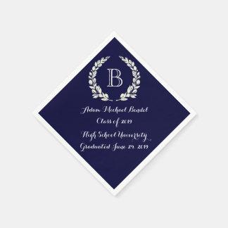 濃紺のカスタムなモノグラムの卒業のナプキン スタンダードカクテルナプキン