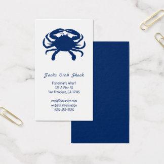 濃紺のカニのシルエットのシーフードのレストラン 名刺