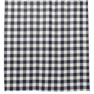 濃紺のギンガムのシャワー・カーテン シャワーカーテン