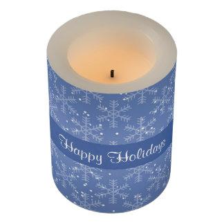 濃紺のクリスマスの雪片 LEDキャンドル