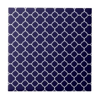 濃紺のクローバーパターン タイル