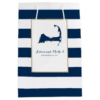 濃紺のケープコッドの地図は縞で飾り、 ミディアムペーパーバッグ