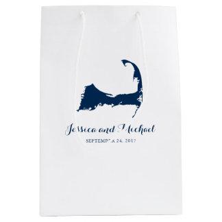 濃紺のケープコッドマサチューセッツ地図|のゲストのバッグ ミディアムペーパーバッグ
