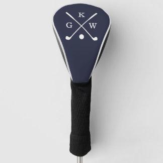 濃紺のゴルフクラブモノグラム ゴルフヘッドカバー