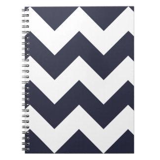 濃紺のシェブロンのジグザグ形のメモ帳 ノートブック