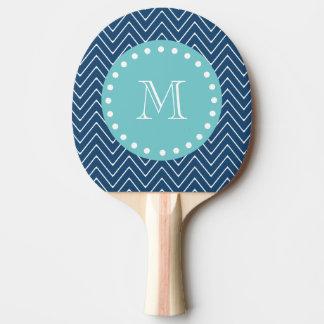 濃紺のシェブロンパターン|ティール(緑がかった色)のモノグラム 卓球ラケット