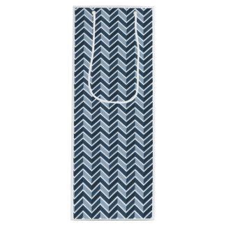 濃紺のシェブロンパターン ワインギフトバッグ