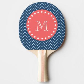 濃紺のシェブロンパターン|珊瑚のモノグラム 卓球ラケット