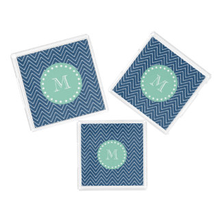濃紺のシェブロンパターン|真新しい緑のモノグラム アクリルトレー