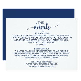 濃紺のシンプルな書道の結婚式の詳細 カード