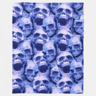 濃紺のスカル フリースブランケット