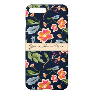 濃紺のスタイリッシュで鮮やかな花パターン iPhone 8 PLUS/7 PLUSケース