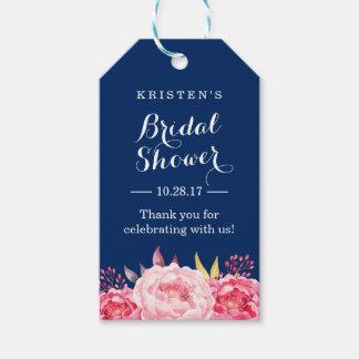 濃紺のストライプの花のブライダルシャワーは感謝していしています ギフトタグ