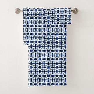 濃紺のタイルの暗いKumo Shiboriのタイルの水彩画 バスタオルセット