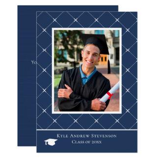 濃紺のダイヤモンドパターン卒業の写真カード カード
