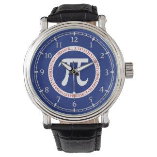 濃紺のダイヤルの円のPiの記号 腕時計