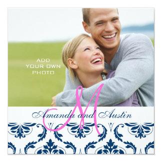 濃紺のダマスク織のモノグラムの写真の結婚式招待状 カード