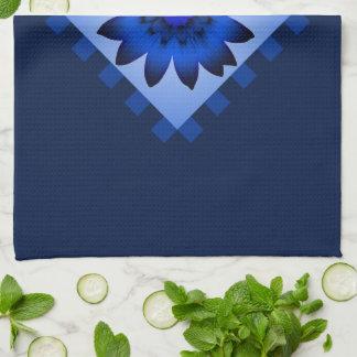濃紺のデイジーの花の台所タオル キッチンタオル