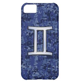 濃紺のデジタルカムフラージュのジェミニ印 iPhone5Cケース