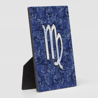 濃紺のデジタルカムフラージュの《星座》乙女座の(占星術の)十二宮図の印 フォトプラーク