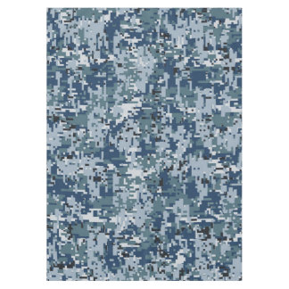 濃紺のデジタルピクセルカムフラージュの装飾 テーブルクロス