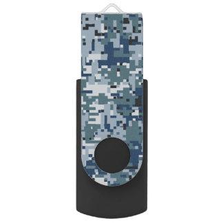 濃紺のデジタルピクセルカムフラージュの装飾 USBフラッシュドライブ