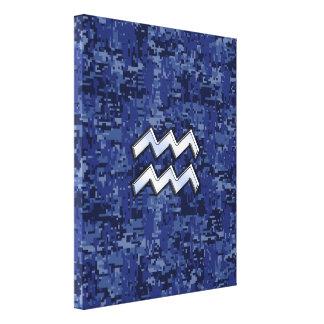 濃紺のデジタル迷彩柄のアクエリアスの(占星術の)十二宮図の記号 キャンバスプリント