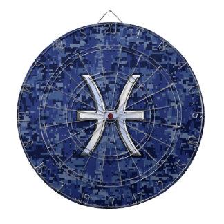 濃紺のデジタル迷彩柄の魚類の(占星術の)十二宮図の記号 ダーツボード